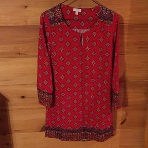 """Dresses & Skirts - """"C"""" Red & patterned cotton dress"""